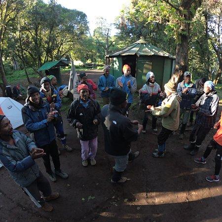 Climb Kili team singing