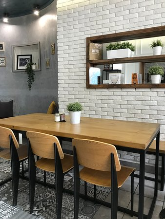 Foyer Espresso Bar: Our famous handmade table!
