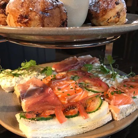 Brasserie Blanc Charlotte Street: Three tiered cake stand for afternoon tea