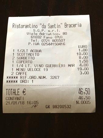 Ristorantino Braceria Da Santin: Uno scontrino accettabile con un menù fisso