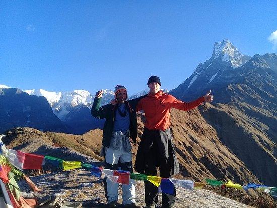 Saras Adventure Travel & Tours: Mr Mikko from Finland with our veteran trekking guide Mr Yogi in Mardi Himal Trek on 30 Nov 2017