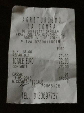 La Comba: L'onestissimo conto di € 72 per un pranzo di 4 persone!