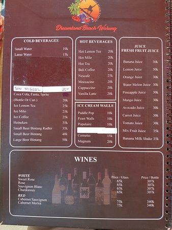 Dreamland Beach Warung: menus