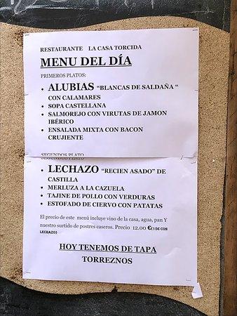 Saldana, Spain: Menú del día