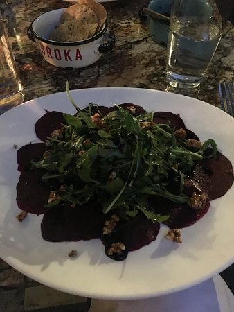 Broka Bistrot: That beet carpaccio is so good! (vegan without cheese)