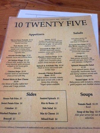 10 Twenty Five Menu