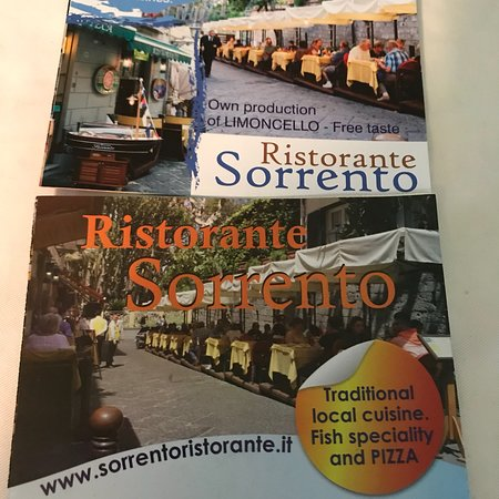 Ristorante Sorrento : The helpful handout with a town map! 2017 and 2018! We love this restaurant don't miss it!