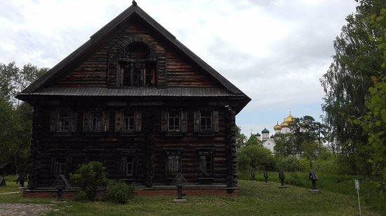 Museum of Wooden Architecture: За домом видны купола Ипатьевского монастыря.