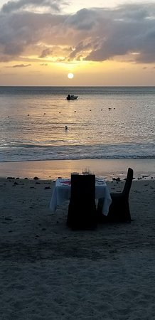 St. James's Club Morgan Bay: Our table for the dinner on the beach