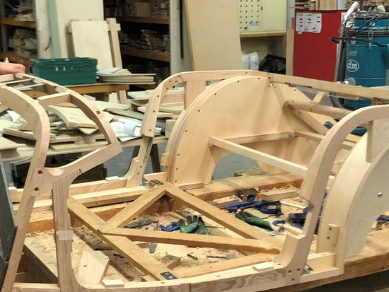 Morgan Motor Company: Close up of wooden sub-frame