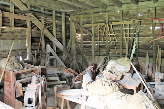 Meadow Farm Museum: Farm implements in storage shed