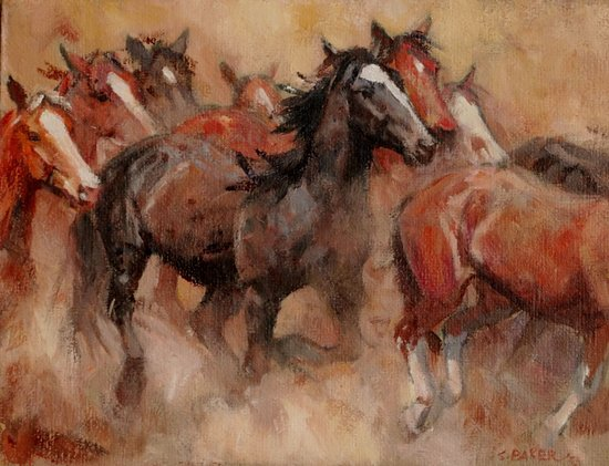 Mountain Trails Galleries Sedona: Morning Herd, oil painting by Suzanne Baker