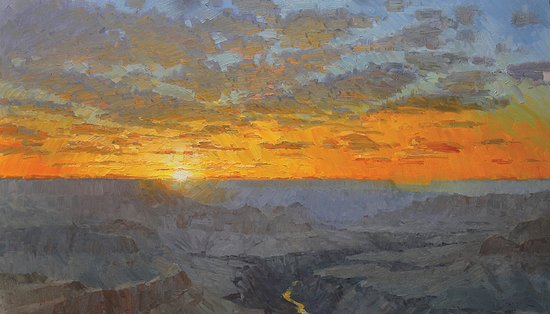 Mountain Trails Galleries Sedona: Sunset Over the Abyss by plein air painter Joshua Been