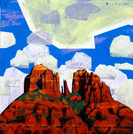 Mountain Trails Galleries Sedona: Cathedral Rock, acrylic painting by contemporary painter Andrew Bolam