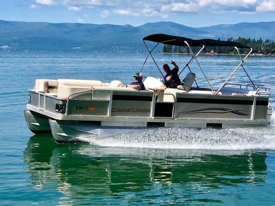 Our large 22 ft  Crest Pontoon seats 10 -12 people and is