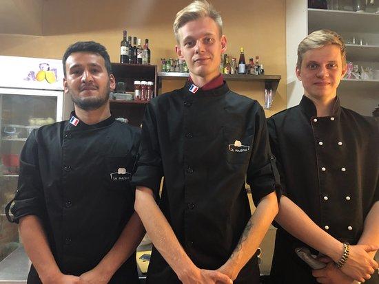 La Maison : Our cooks. From left to Right. Tariq, Kyrilland Vlad