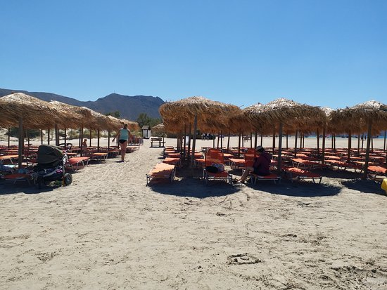 Elafonissi  Beach: sun chairs for rent.