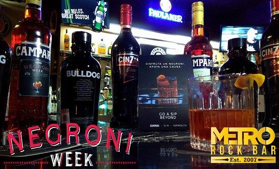 """Metro Rock Bar: Estamos en la semana del """"Negroni Week"""", te invitamos a beber con causa"""