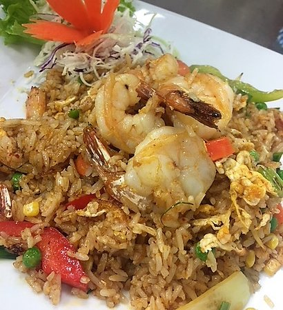 Lanna Thai Cuisine: Red curry fried rice with prawns