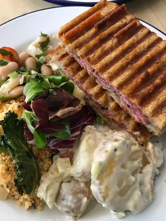 Pickled Greens: Pastrami Toastie with homemade salad