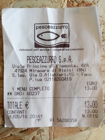 PesceAzzurro Rimini: rilasciano scontrino