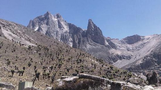 Naro Moru, Kenya: This is View of mount  Kenya  viewed from mackinders camp.