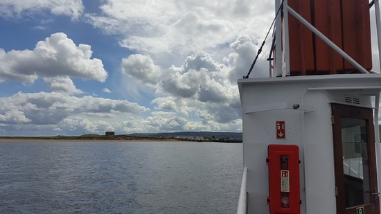 Lough Foyle Ferry: View of Mortello Tower and The Point Bar and Restaurant