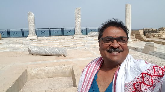 Theatre at Caesarea National Park: well maintained marble columns