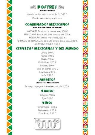 Postres caseros, Combinados mexicanos, Cervezas mexicanas y del mundo. Otras bebidas
