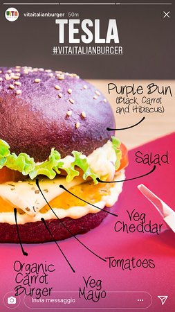 Vita Italian Burger : TESLA - Panino Viola