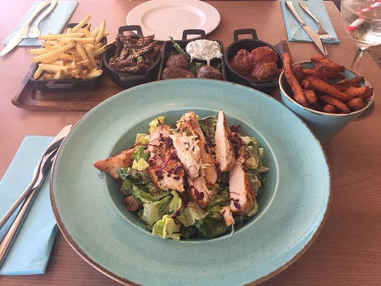 Trearddur Bay, UK: Two main courses. Caesar Salad for me and Tapas for Hubby