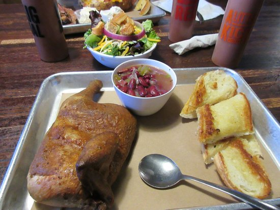 BBQ Chicken, red beans and rice, garlic bread, salad