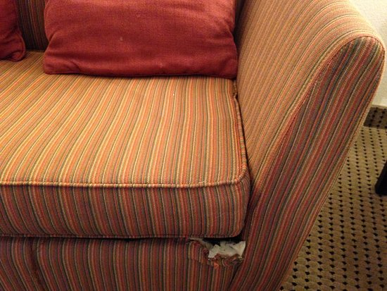 Comfort Suites University : Hole in couch
