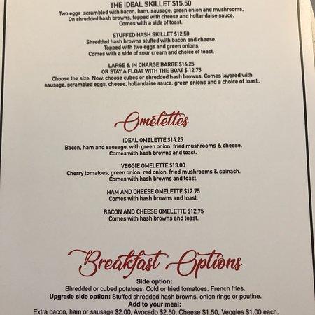Current menu as of June 2018