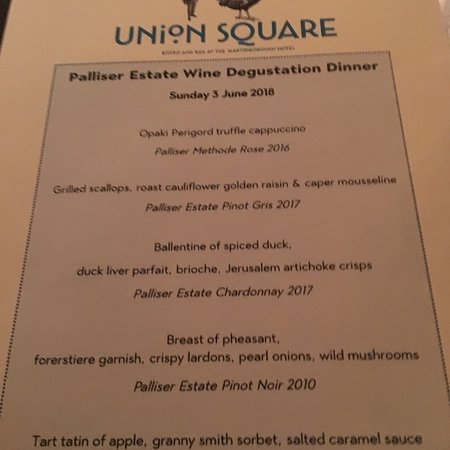 Union Square Bistro and Bar : The Palliser  Winemakers Dinner Menu