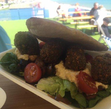 St Leonards-on-Sea, UK: Falafel salad with caponata and hummus