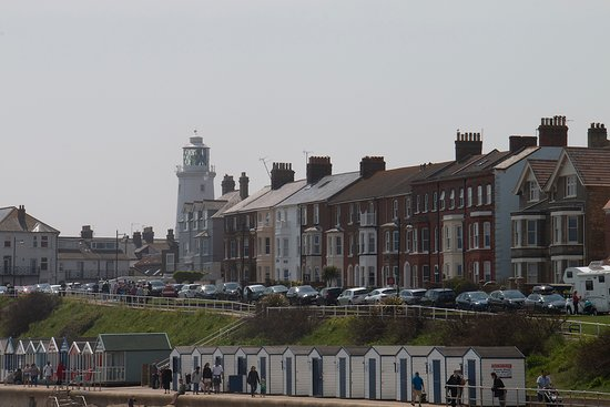 Southwold Pier: Southwold lighthouse and cottages from pier