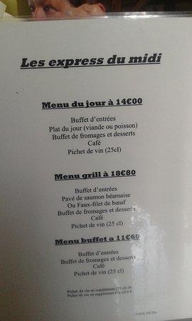 Chamarandes-Choignes, Франция: menu du jour