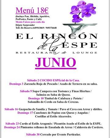 Albalate de Zorita, Spain: Nuestro Menú del mes de JUNIO