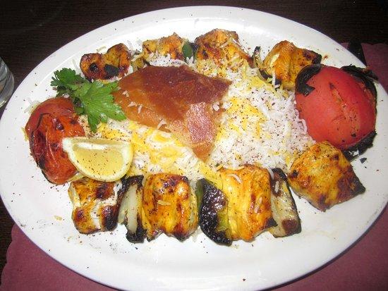 Hatboro, PA: Chicken Soltani (1 skewer chicken breast; 1 skewer ground chicken)