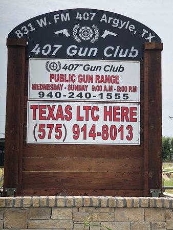 Argyle, TX: 407 Gun Club Sign