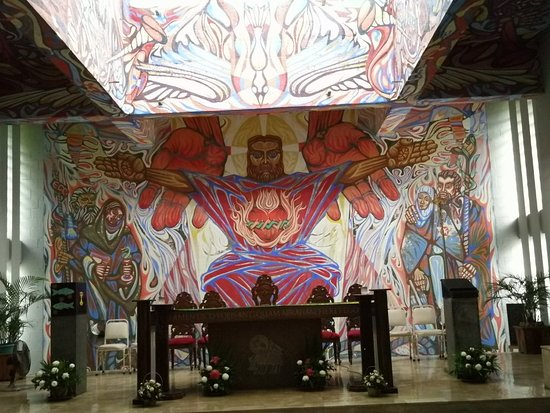 Victorias Milling Company: Church of the Angry Christ. Last Supper mural. Sundial.