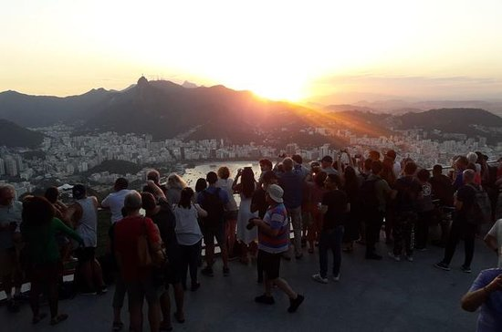 Christ l'expérience du coucher du soleil Rédempteur De Rio De Janeiro