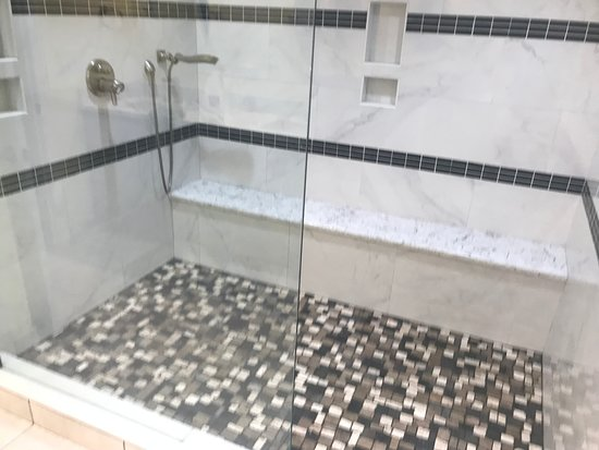 1800 Atlantic Suites: massive walk-in shower with three shower heads!