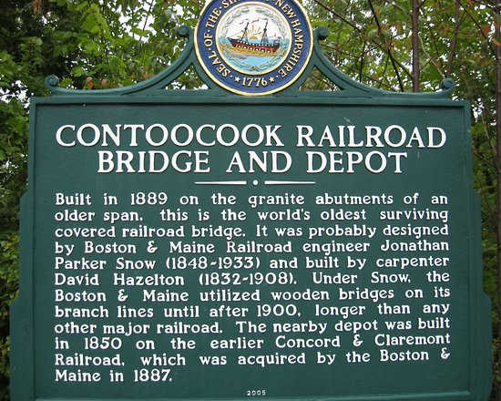 Contoocook Railroad Museum and Covered Bridge: Sign with info about the bridge & depot