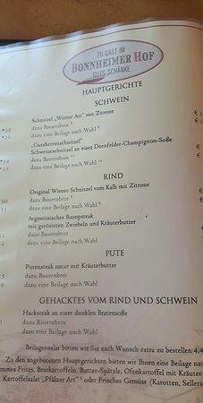 Hackenheim, Alemania: Speisekarte
