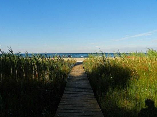 Ossineke, MI: Boardwalk to the beach.