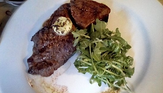 Restaurant at The Old Black Lion: Specials board local rump steak with thyme/garlic butter & chips