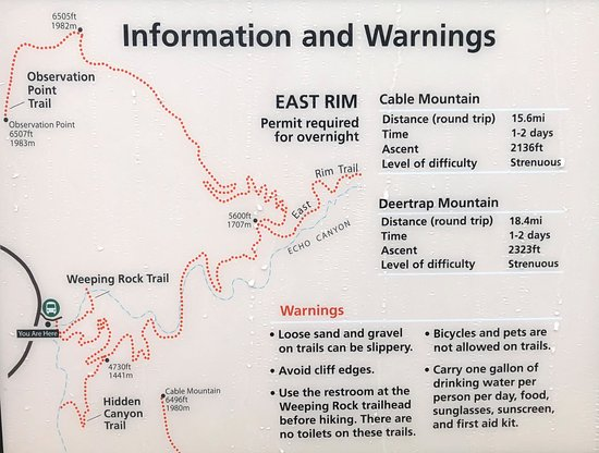 Zion National Park Hiking Trail Map on