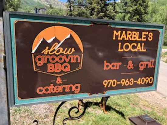 Marble, CO: Sign for restaurant.